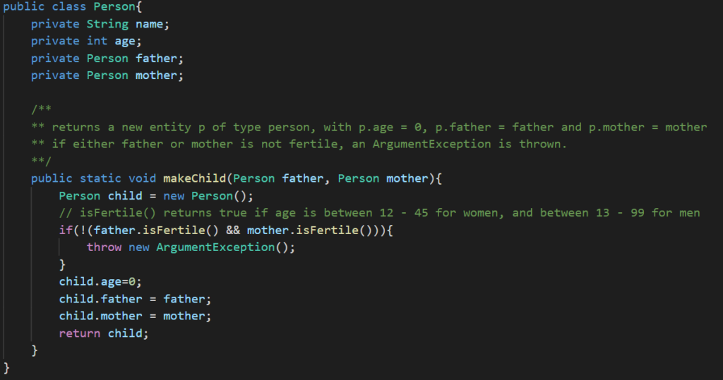 Example Class Person - static function makeChild