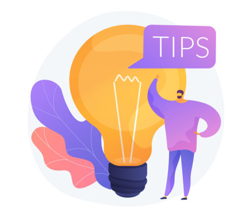 Freepik vectorjuice Illustration guy with lightbulb and 'tips' bubble